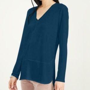 Bar lll Top Blouse Long Sleeve V neck Blue Sz XS